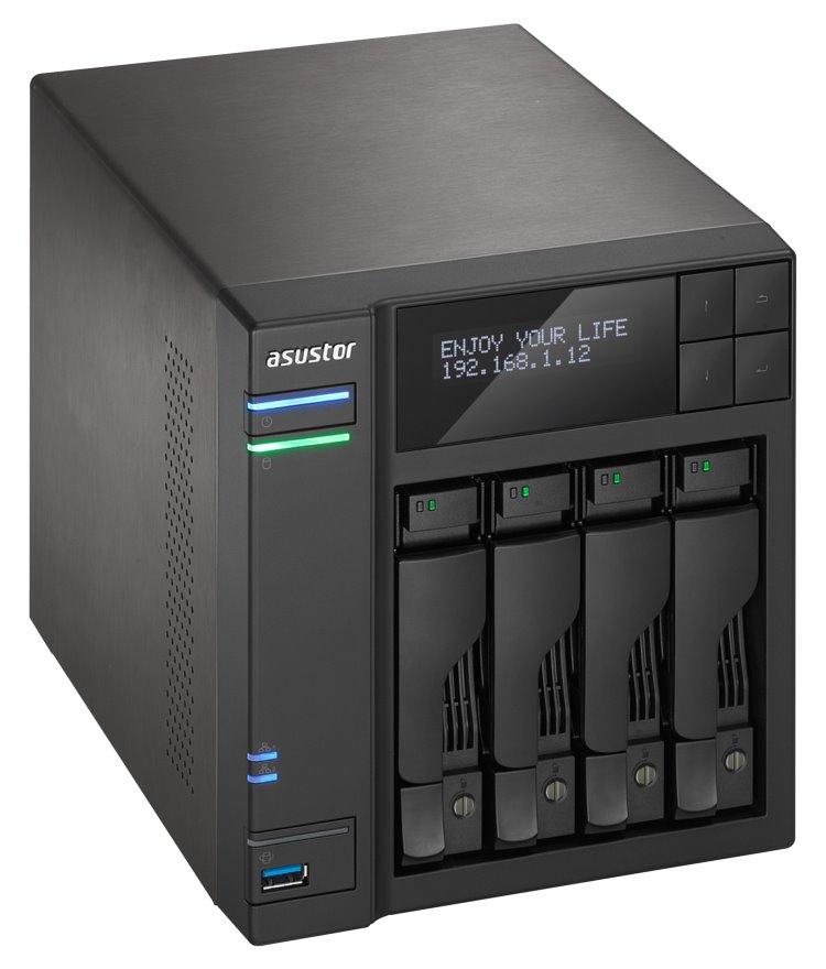 "Asustor NAS AS7004T / 4x 2,5""/3,5"" SATA III/ Intel i3 3,5 GHz/ 2 GB/ 2x GbE/ 3x USB 3.0/ 2x USB 2.0/ eSATA, AS7004T"