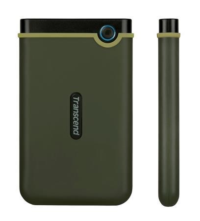 """TRANSCEND 2TB StoreJet 25M3G SLIM, 2.5"""", USB 3.0 (3.1 Gen 1) Externí Anti-Shock disk, tenký profil, armádní zelená, TS2TSJ25M3G"""