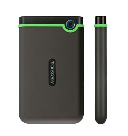 "TRANSCEND 2TB StoreJet 25M3S SLIM, 2.5"", USB 3.0 (3.1 Gen 1) Externí Anti-Shock disk, tenký profil, šedo/zelený, TS2TSJ25M3S"