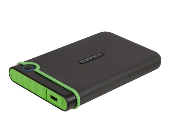 "TRANSCEND 4TB StoreJet 25M3C SLIM, 2.5"", USB-C (3.1 Gen 1) Externí Anti-Shock disk, tenký profil, šedo/zelený, TS4TSJ25M3C"