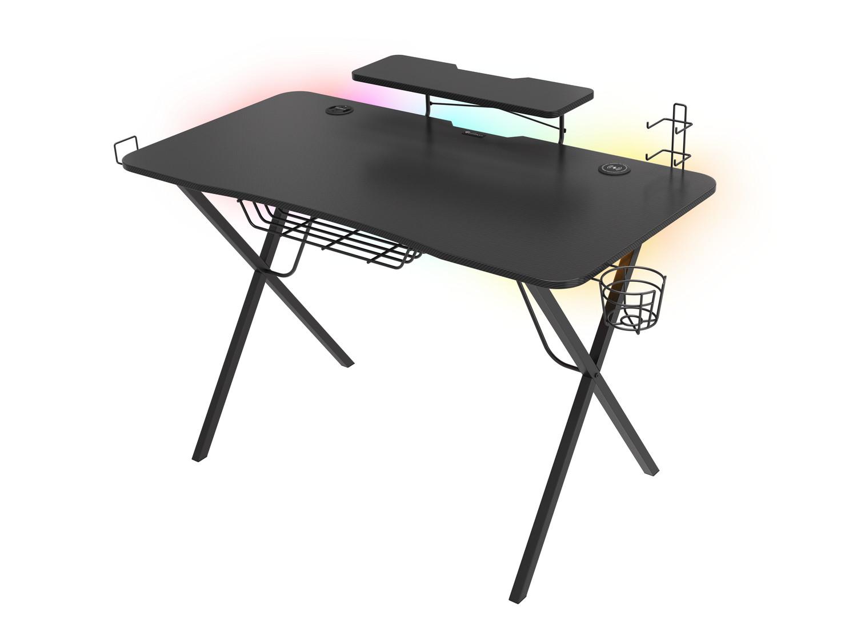 Genesis Holm 300 RGB - herní stůl s RGB podsvícením, 3xUSB 3.0, bezdrátová nabíječka mobilů, NDS-1550