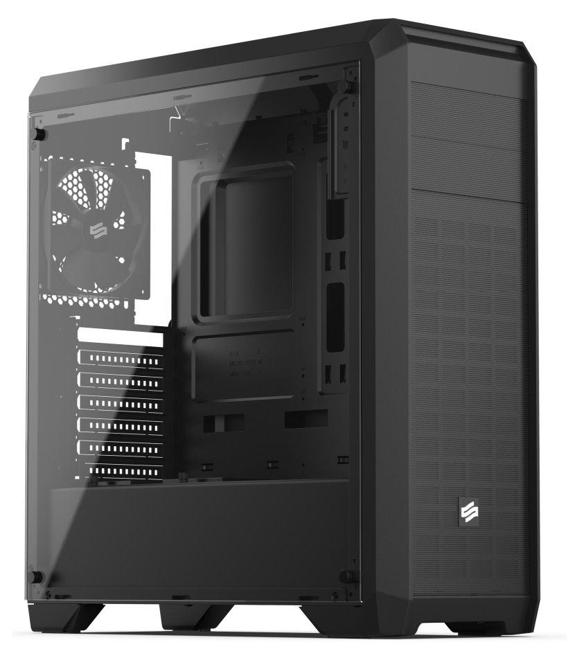 SILENTIUM PC SilentiumPC skříň Regnum RG4T Pure Black TG / celoskleněná bočnice /ATX/ čtečka SD / USB 3.0 / regulace otáček/ černá, SPC178