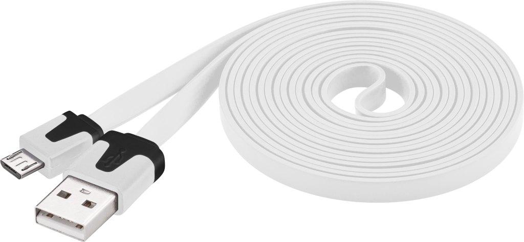 PremiumCord Kabel micro USB 2.0, A-B 2m, plochý PVC kabel, bílý, ku2m2fp1