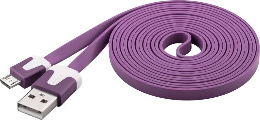 PremiumCord Kabel micro USB 2.0, A-B 2m, plochý PVC kabel, fialový, ku2m2fp3