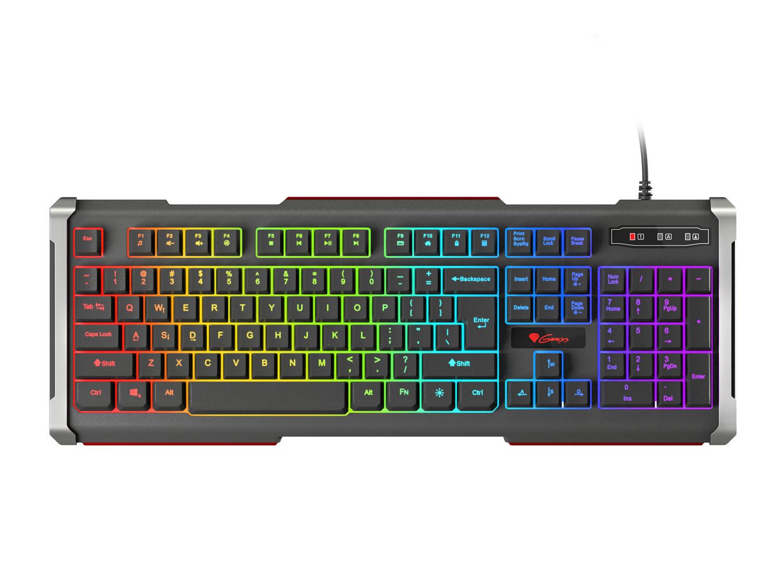 Herní klávesnice Genesis Rhod 400 RGB, US layout, 6-zónové RGB podsvícení, NKG-0993