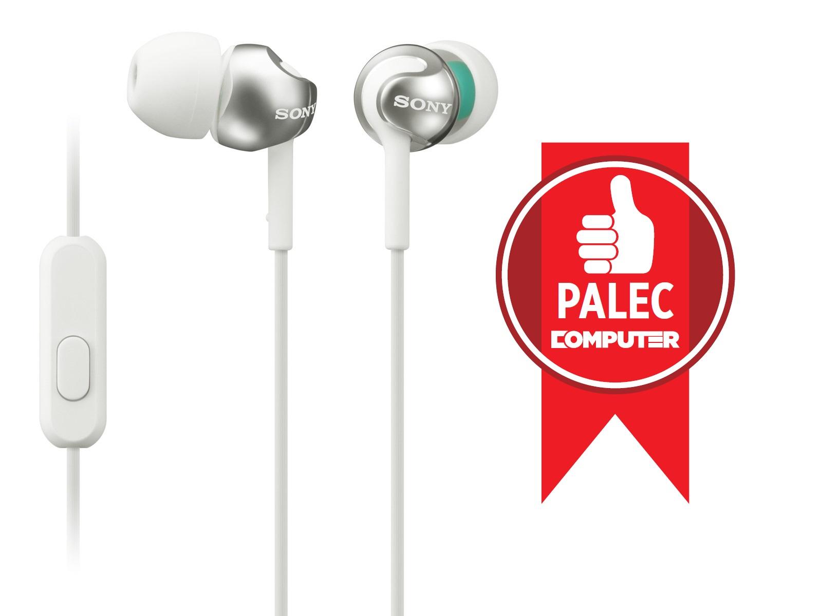 SONY sluchátka MDR-EX110AP, handsfree, bílé, MDREX110APW.CE7