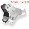 VIKING USB FLASH DISK 3.0 4v1 128GB, S KONCOVKOU APPLE LIGHTNING, USB-C, MICRO USB, USB3.0, černá, VUFII128B