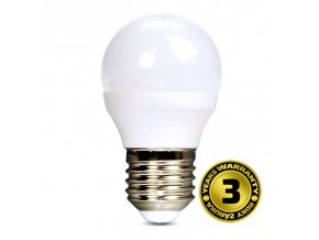 Solight LED žárovka, miniglobe, 6W, E27, 6000K, 450lm