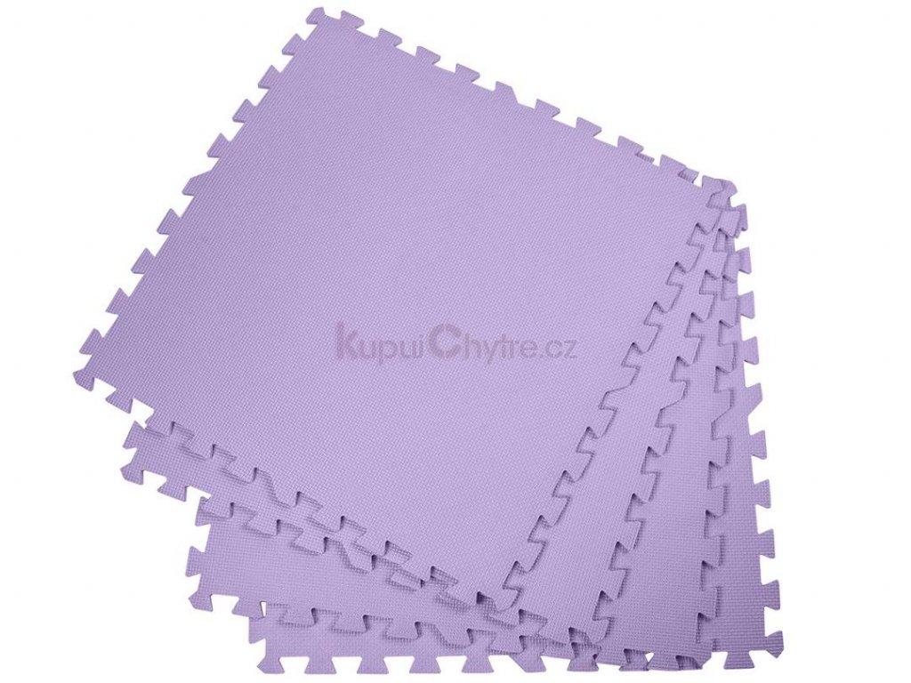 Pěnový koberec - cvičící / dětská podložka 60 x 60cm - 4 ks - fialová