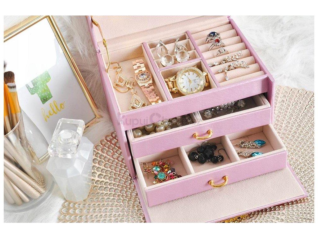 Šperkovnice se zrcadlem na klíček (růžová)