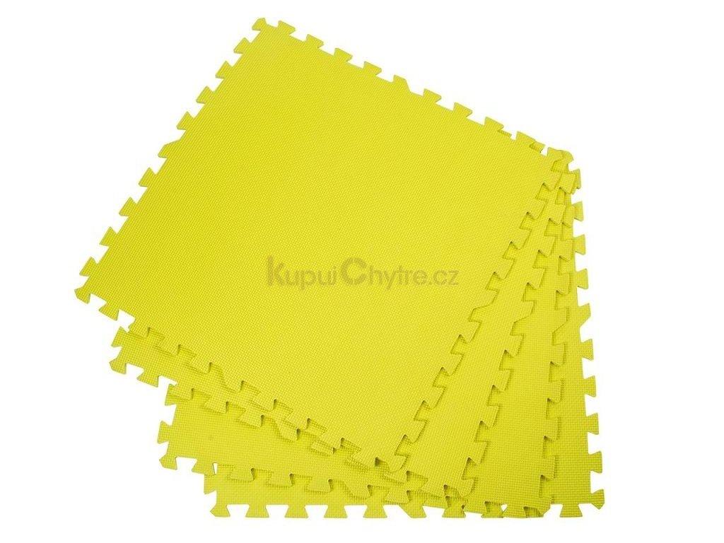 Pěnový koberec - cvičící / dětská podložka 60 x 60cm - 4 ks -žlutá