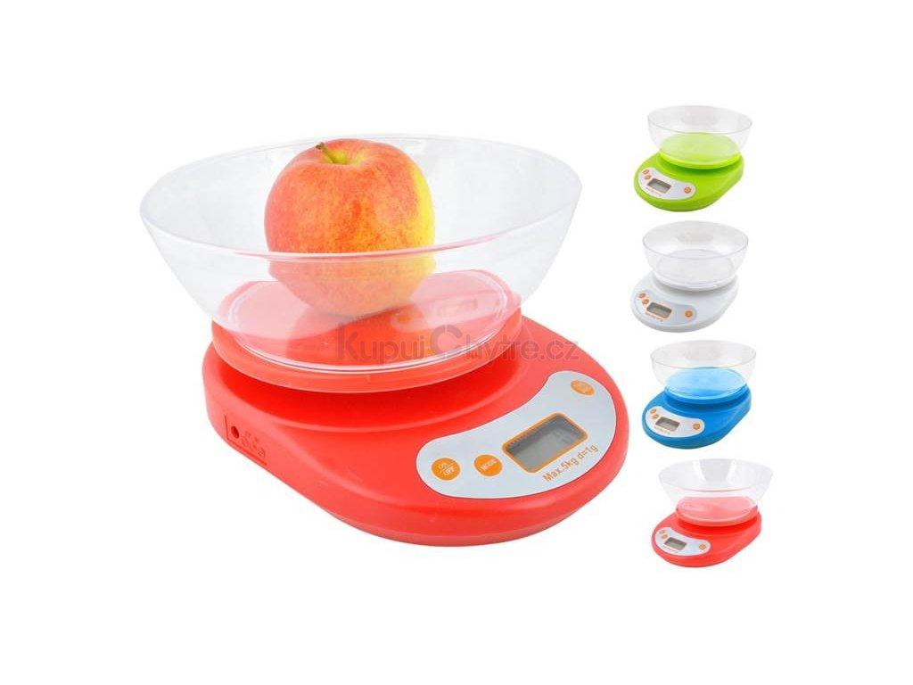 Digitální kuchyňská váha 5 Kg + miska (červená)