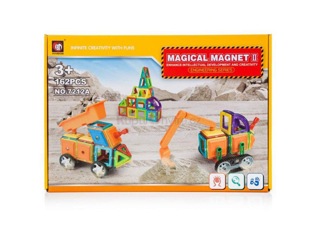 Magnetická stavebnice - ROZBALENO - průmyslové stroje II - 162ks - CHYBÍ 1 DÍLEK
