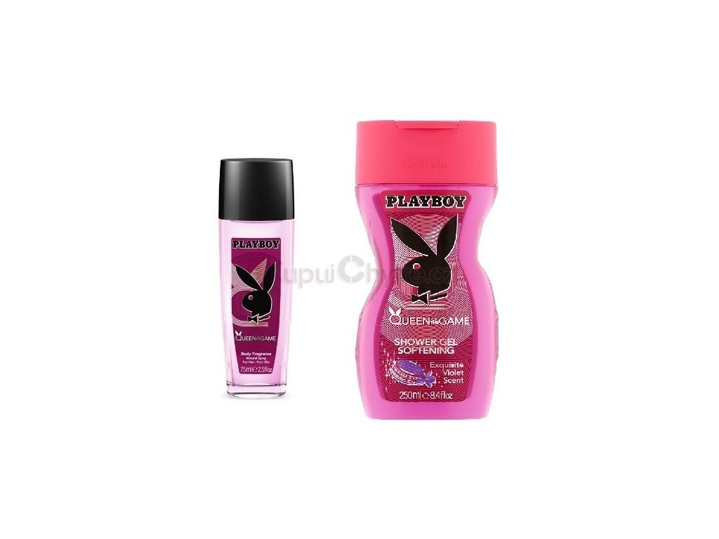 Dárková sada Playboy Queen of The Game 75 ml parfémovaný deodorant + gel 250 ml