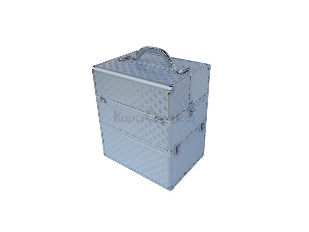 kosmetický kufr 3D - stříbrný