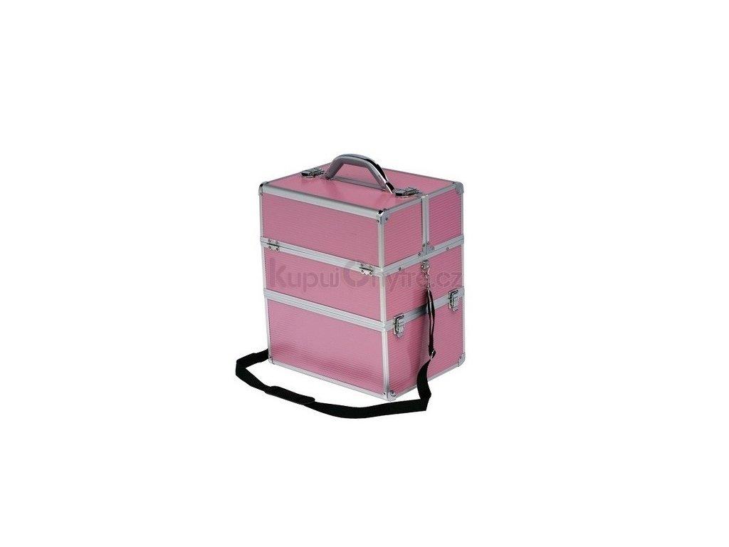 Kosmetický kufr, STRIP růžový - rozkládací