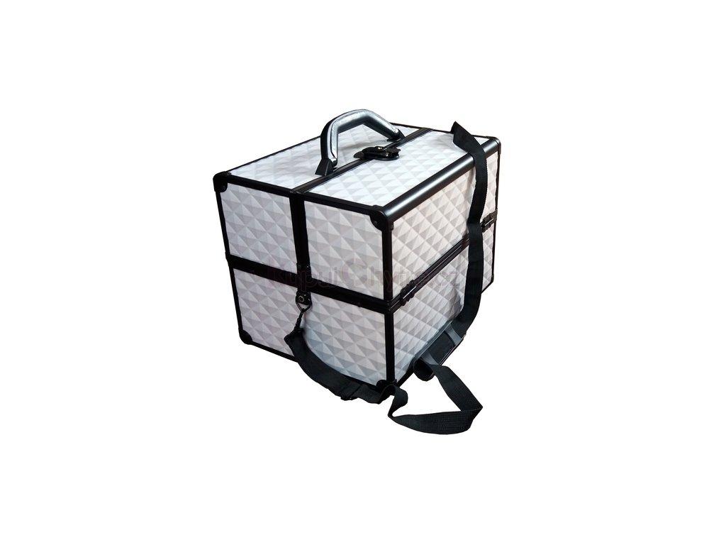 Kosmetický kufr 3D stříbrný - černý rám