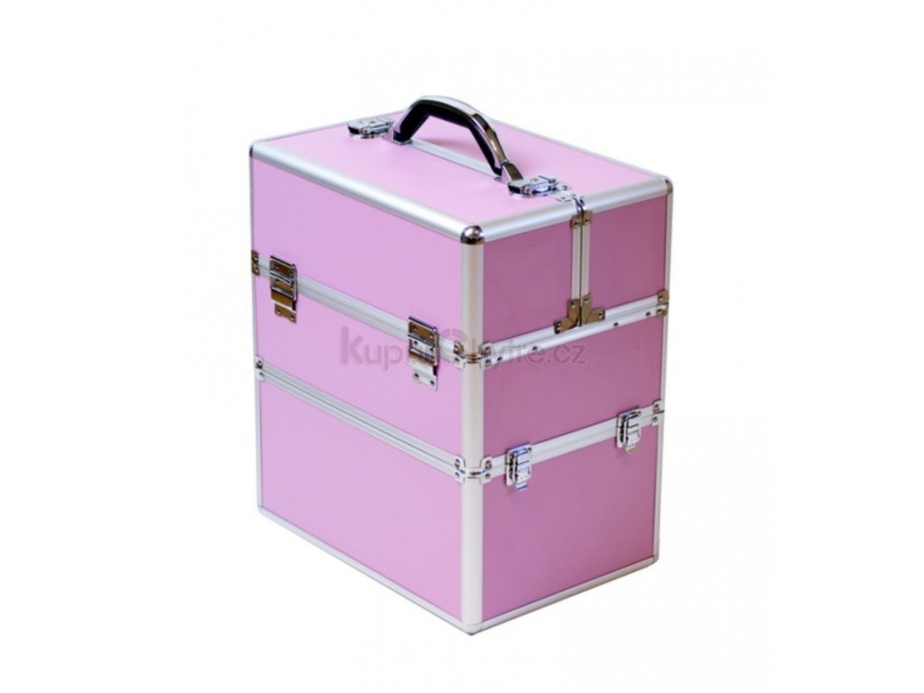 Kosmetický kufr, růžový - rozkládací