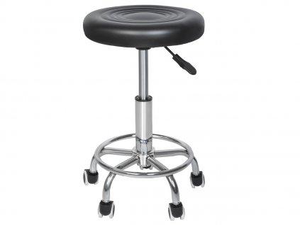 Kadeřnický taburet - kolečková židle - černá