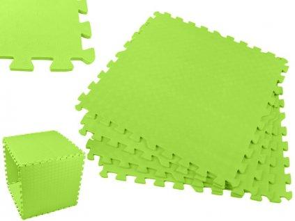 Pěnový koberec - cvičící / dětská podložka 60 x 60cm - 4 ks - zelená