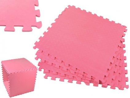 Pěnový koberec - cvičící / dětská podložka 60 x 60cm - 4 ks - růžová