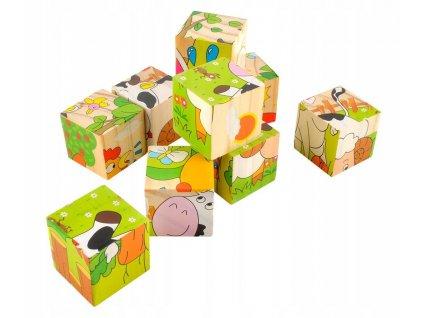 Dřevěné kostky - farma domácích zvířat 6v1