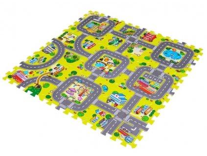 Dětský pěnový koberec PUZZLE - město, silnice 31 x 31cm - 9 ks