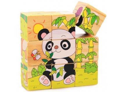 Dřevěné kostky - exotická zvířátka 6v1
