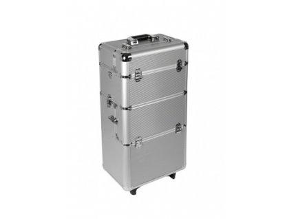 Kosmetický kufr na kolečkách - stříbrný