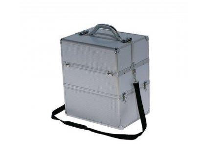 Kosmetický kufr - stříbrný strip