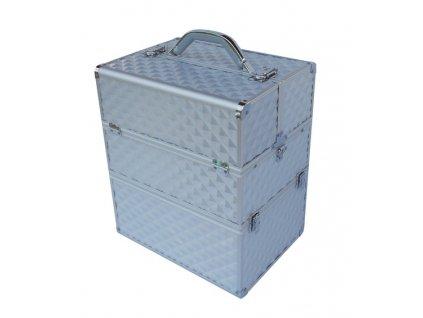3D kosmetický kufr - stříbrný