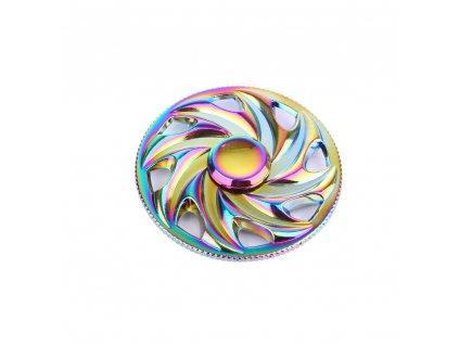 Fidget Spinner - kovový duhový - spirála + BOX