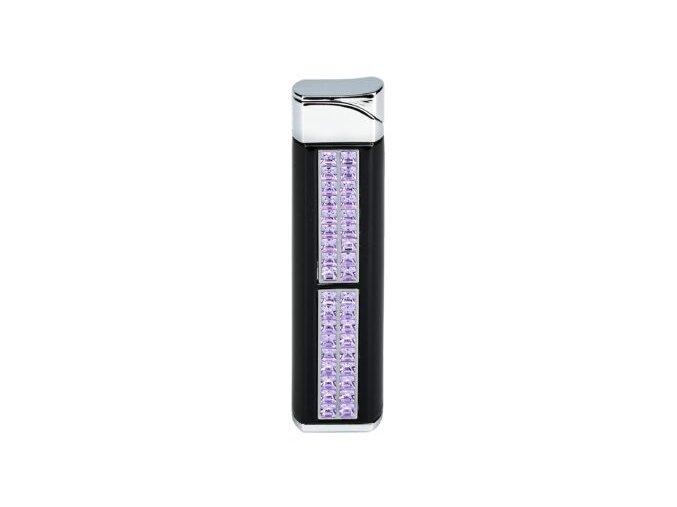 Dámský zapalovač Hadson Quadrina, černý, fialové kamínky Swarovski