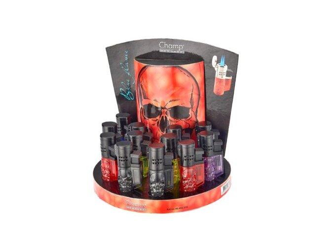 Tryskový zapalovač Champ Blue Flame 3D Skull