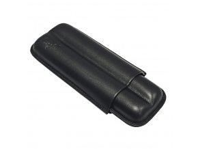 Pouzdro na 2 doutníky Etue Bako, černé, kožené, 16 cm