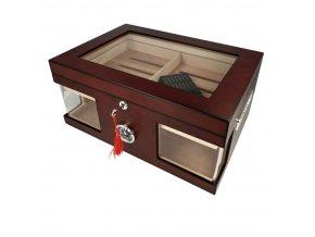 Humidor na doutníky Ulysse, červenohnědý, prosklený, stolní