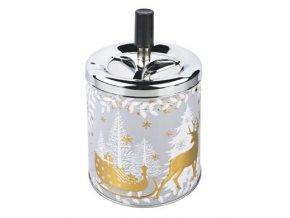 Cigaretový popelník kovový otočný Christmas, zlatý