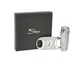 Sada pro kuřáky doutníků Sky, zapalovač, vyštípávač, stříbrná