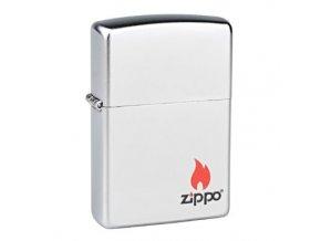 Zapalovač Zippo Logo Flame, satin