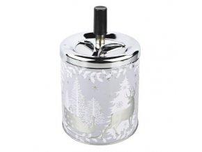 Cigaretový popelník kovový otočný Christmas, stříbrný