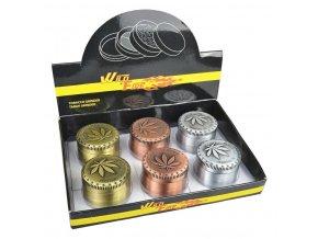 Drtič tabáku kovový WildFire Cannaleaf, 6mix
