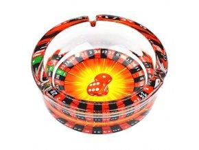 Cigaretový popelník skleněný kulatý Casino