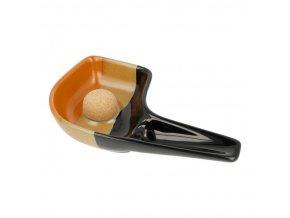 Dýmkový popelník na 1 dýmku keramický černohnědý