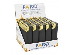 Zapalovač FARO Piezo Gold & Black Rubber