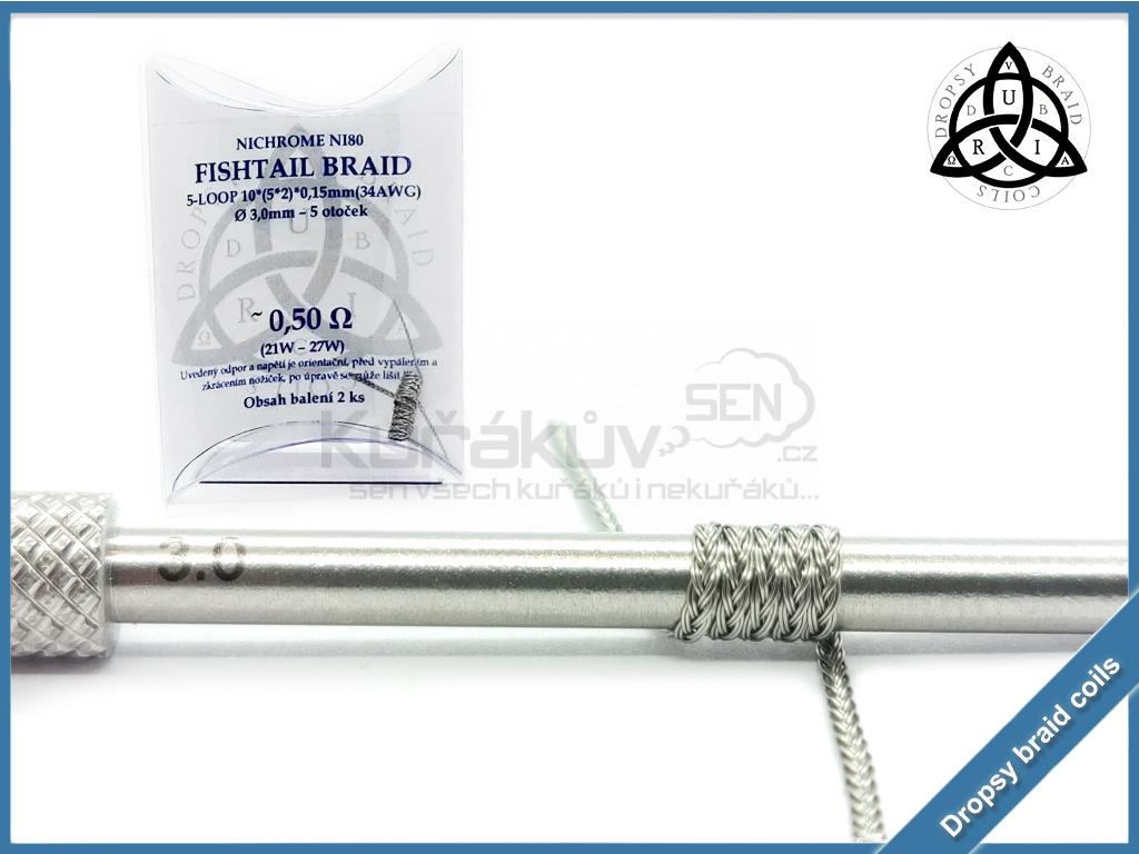 5 loop Fishtail braid 10 050 ni80