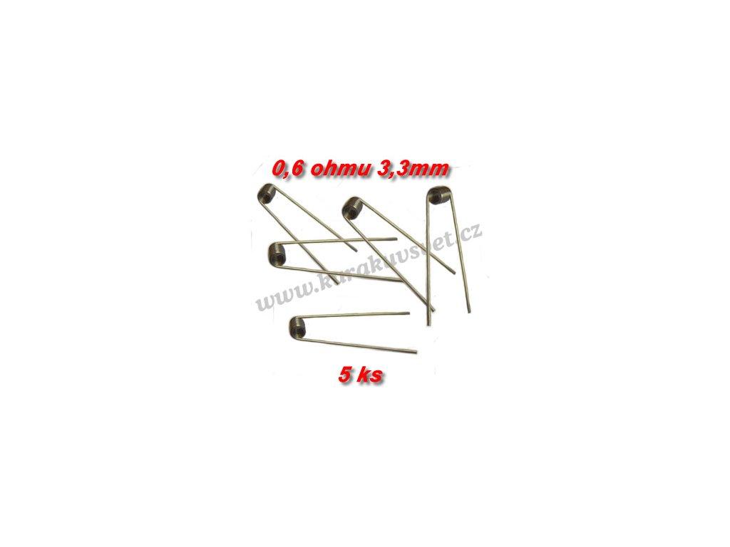 5ks spirálky 0,6ohmu 3,3mm