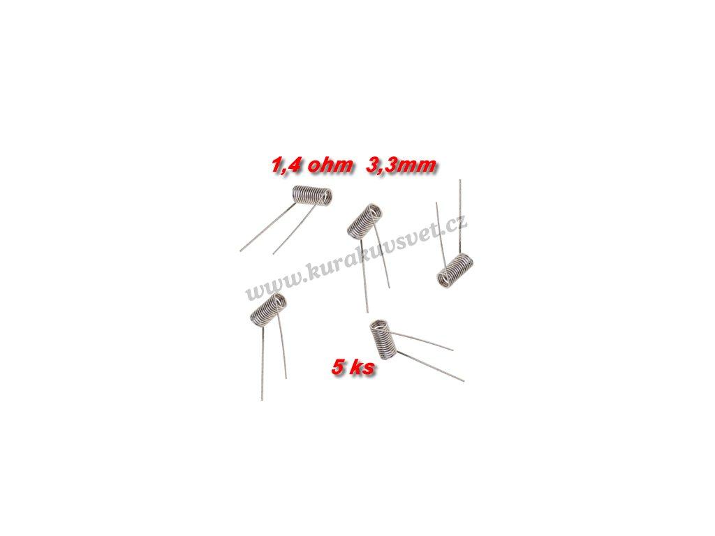 5ks spirálky 1,4ohmu 3,3mm