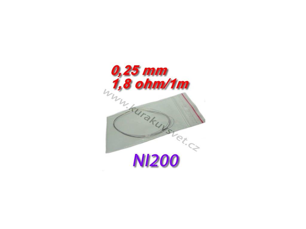 4m Odporový drát NI200 0,25mm 1,8ohmu
