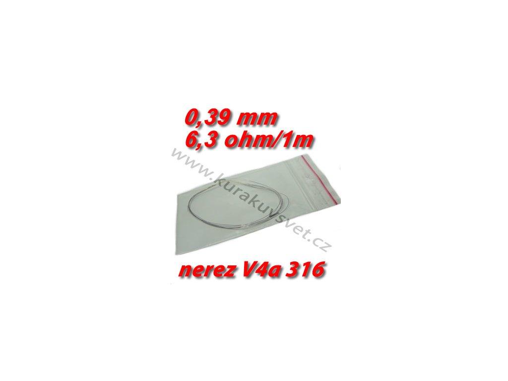 4m 0,39mm nerezový odporový drát V4a 316 6,3ohmu