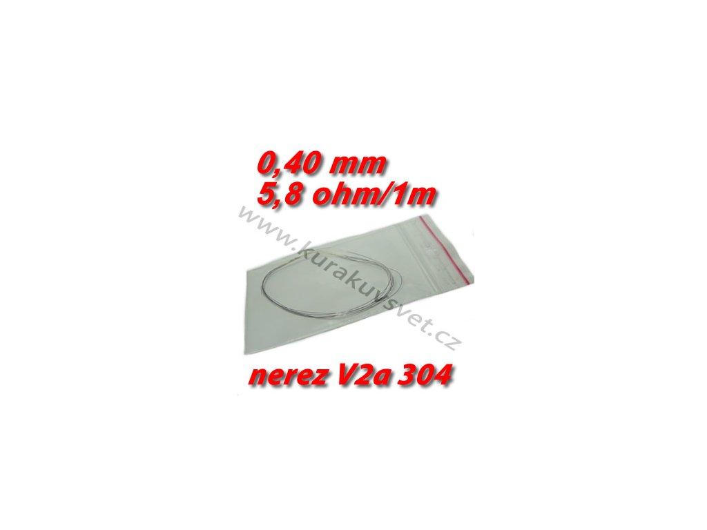 4m Odporový drát nerez V2a 304 0,40mm 5,8ohmu
